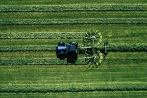 arial view of farmer